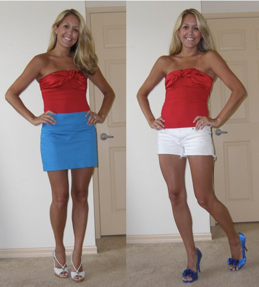 This is my favorite holiday, so I wanted to put together some VERY festive red/white/blue outfits for you all!   smile emoticon   I'll be spending most of the day on the beach, but tonight for fireworks will be wearing jean shorts with a navy and white striped tank and gold sparkly sandals. I'll post a pic later. In the meantime, hope you have a very happy Independence Day!!