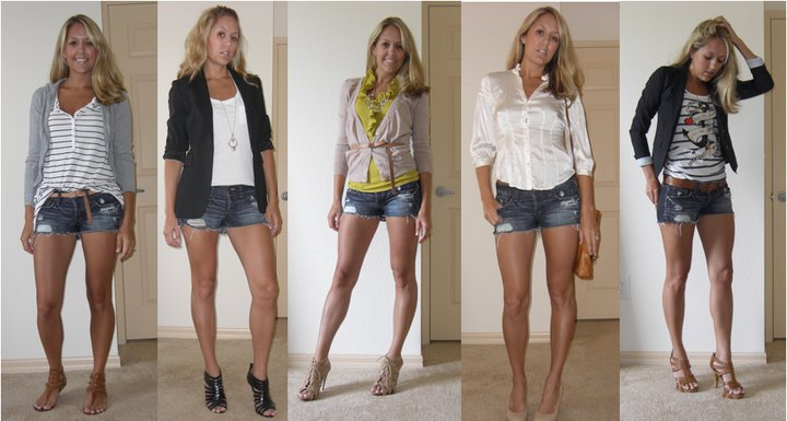 These are the outfits from yesterday's FabSugar feature:   http://www.fabsugar.com/One-Denim-Cutoff-Worn-Five-Ways-9053012