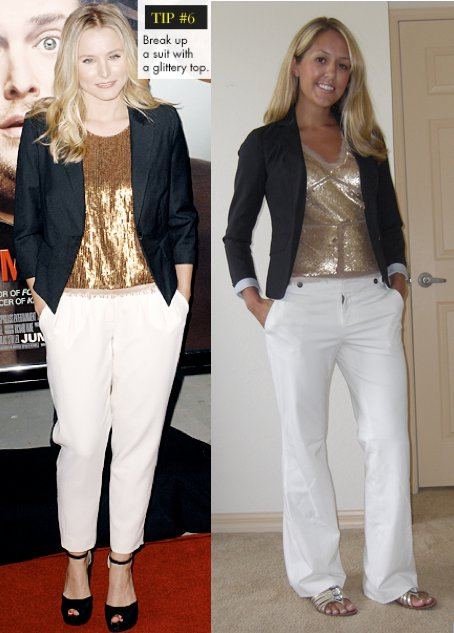 Navy blazer: Gap, $70   Sequin shirt: Arden B, $25   Pants: Gap Shoes: DSW/SE Boutique, $35  Photo left: Kristen Bell's inspiring outfit from WhoWhatWear.com