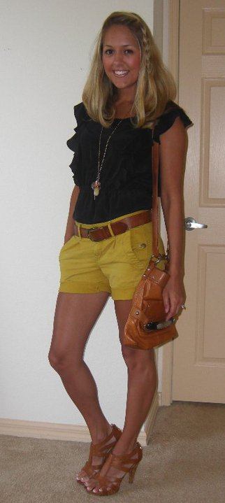 Shirt: Banana Republic, $35 Shorts: Gap, $25 (online now, original price $50) Belt: H&M Necklace: Banana Republic, $18 Shoes: DSW/Chinese Laundry, $40 Purse: B.Makowsky/Macy's