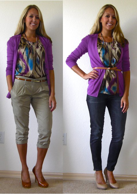 Occasion: Work (left) and weekend (right)   Cardigan: Banana Republic, $12 Shirt: TJ Maxx, $15 Necklace: Stella & Dot, c/o Lori McMinn Khakis: Banana Republic, $14 Belt (left): Limited, $15 Belt (right): Gap, $10 Jeans: Gap, $44 Shoes (left): Restricted/Endless.com, $39 Shoes (right): Banana Republic, $22