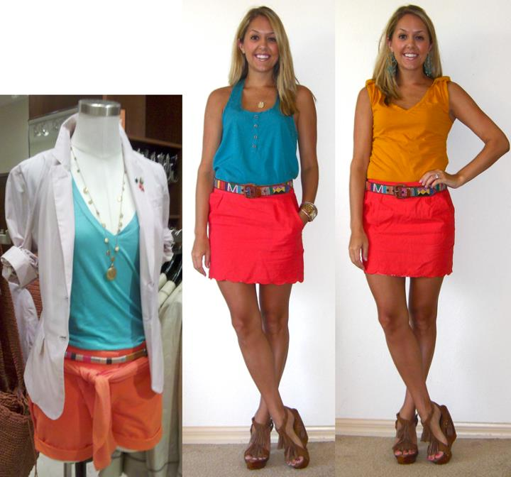 Inspiration photo: J.Crew mannequin   Shirt (left): TJ Maxx, $15   Shirt (right): Gap, $5   Skirt: Forever 21, $18   Belt: c/o Rogue Retro, $15   http://tinyurl.com/3bkjh78   Shoes: c/o Chinese Laundry, $130  http://tinyurl.com/3v2gp48   Necklace: Stella & Dot   Earrings: My Stella & Dot Website  http://tinyurl.com/3kx7l6s