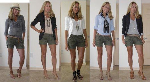 Olive shorts, 5 ways.