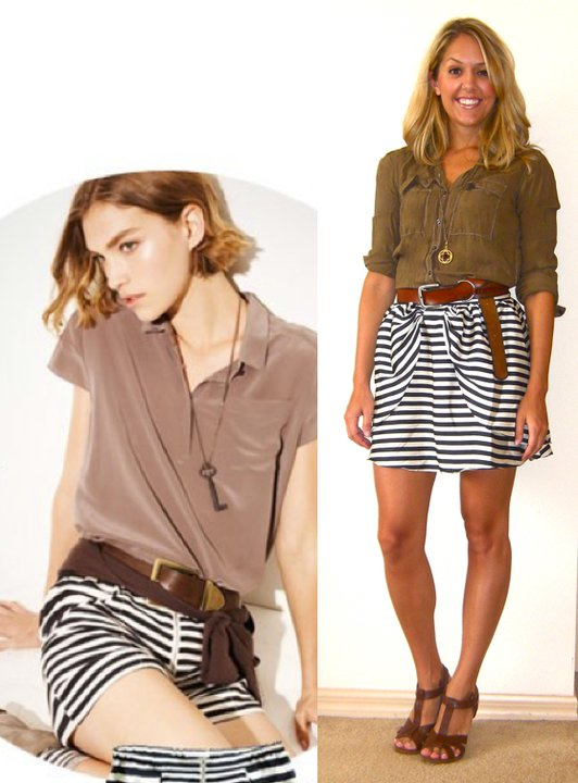Inspiration photo:  Madewell.com   Shirt: Gap, $10   Navy skirt: H&M, $30   Belt: American Eagle/Filene's Basement, $5   Charm on chain: c/o Stella & Dot, $19 (  http://tinyurl.com/3v4vzbx  )   Shoes: H&M, $40