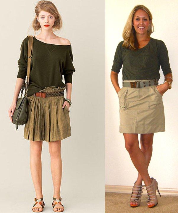 Occasion: Work   Inspiration photo: J.Crew   Shirt: Forever 21, $18   Skirt: Banana Republic, $35   Belt: Bakers, $5   Shoes: Aldo, $50   Watch: Michael Kors, family gift (  http://amzn.to/p3tIQV  )   Bracelets: Forever 21, $8   Earrings: c/o Pop of Chic, $12 (  http://tinyurl.com/3tne5ze  )