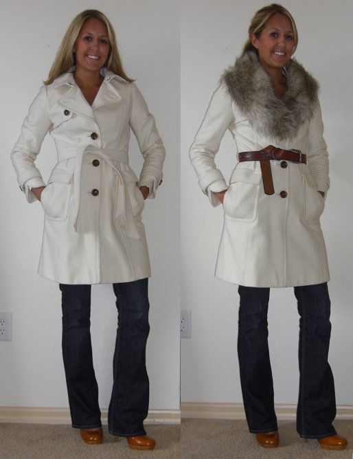 Coat: Banana Republic, $130 (on sale, two winters ago) Faux fur collar: H&M, $15 (recent) Belt: American Eagle/Filene's Basement, $5 Jeans: Hudson/Filene's Basement, $70 Shoes: Restricted/Endless.com, $38
