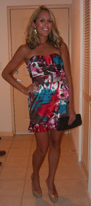 Dress: Express, $70 (2 years ago)   Earrings: Banana, $20   Clutch: Aldo   Shoes: Guess/Marshall's, $30
