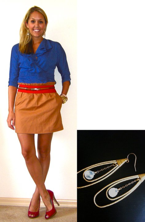 Shirt: c/o Elegantees, $10 (  http://elegantees.com/Rachele.html  )   Skirt: J.Crew, $45 Red belt: Forever 21, $5 Brown belt: Limited, $15 Shoes: Delicious/Shoe Carnival, $10 Watch: Michael Kors, family gift ( http://amzn.to/p3tIQV ) Bracelets: Forever 21, $8 Earrings: c/o Mikel Maia (see close-up on the right! http://tinyurl.com/3zktvmf )