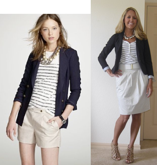 Navy blazer: Gap, $70   Striped dress (worn as shirt): H&M, $13   Necklace: Urban Outfitters, $15 Belt: H&M, $5 Skirt: Banana Republic, $40 Shoes: Piperlime/Chinese Laundry, $34  Photo left: My inspiration from  JCrew.com !