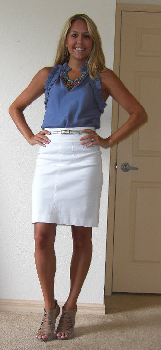 Shirt: Banana Republic, $35   Necklace: H&M, $13   Skirt: Banana Republic, $35 Belt: Limited, $20 Shoes: DSW/Steve Madden, $27