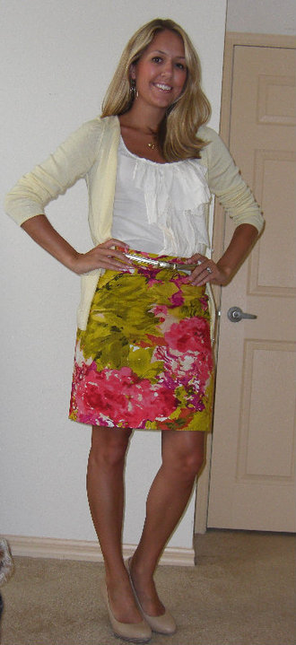 Shirt: J.Crew, $20   Cardigan: Banana Republic, $14   Skirt: J.Crew, $48 Belt: Limited, $20 Shoes: Banana Republic, $20 Necklace/earrings: Banana Republic