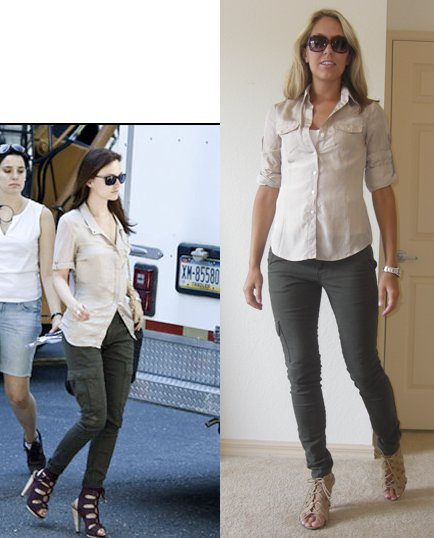 Shirt: Express   Pants: Nordstrom Rack/Sanctuary Surplus, $39 (style #828605297041 if you want to call your local store!)   Shoes: Piperlime/Chinese Laundry, $34 Watch: Fossil Sunglasses: H&M, $6 Photo left: Leighton Meester - my stylish inspiration ( People.com )