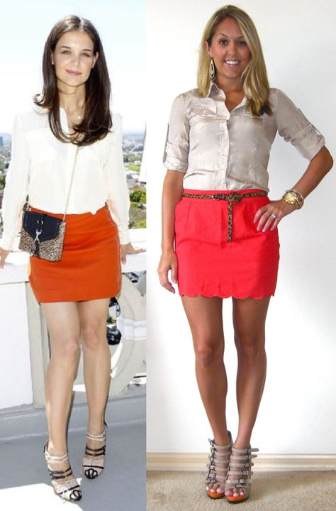 Occasion: Definitely not work appropriate with that sassy short skirt   smile emoticon   Inspiration photo:   PopSugar.com   Shirt: Express, $25   Skirt: Forever 21, $16 (  http://tinyurl.com/3paqkxz  )   Belt: Urban Outfitters, $20   Shoes: Aldo, $50   Watch: Michael Kors, family gift (  http://amzn.to/p3tIQV  )   Bracelets: Forever 21, $8   Earrings: c/o Mikel Maia (  http://tinyurl.com/3zktvmf  )