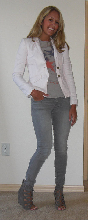 Pink blazer: Banana Republic, $50   T-shirt: Forever 21, $10 Jeggins: Gap, $35 Booties: Mia/Macy's, $28
