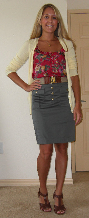 Shirt: Forever 21, $20   Cardigan: Banana Republic, $14   Belt: Banana Republic, $35 Skirt: H&M, $20 Shoes: H&M Necklace: Banana Republic