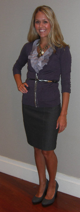 Banana Republic:   Purple beaded cardigan, $79.50 (style #769574)   Purple ruffle top, $69.50 (style #769811)   Black skirt, $69.50 (style #762186)   Union shoe in slate, $120 (style #778844) Necklace, $59.50 (style #783064) Pewter belt, $29.50 (style #772703)    Disclaimer  : I do not own these clothes (besides the shoes)