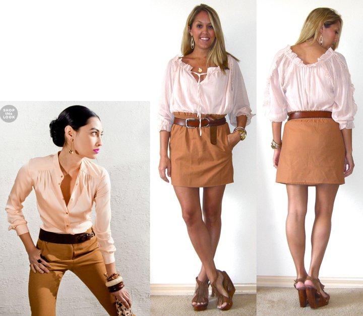 Inspiration photo:  Shopbop.com   Shirt: TJ Maxx, $17   Skirt: J.Crew, $45   Belt: American Eagle/Filene's Basement, $5   Shoes: c/o Chinese Laundry (  http://tinyurl.com/3v2gp48  )   Watch: Michael Kors, family gift (  http://amzn.to/p3tIQV  )   Bracelets: Forever 21, $8   Necklace: c/o Stella & Dot (  http://tinyurl.com/3l6ouxz  )   Earrings: c/o Mikel Maia (  http://tinyurl.com/3zktvmf  )