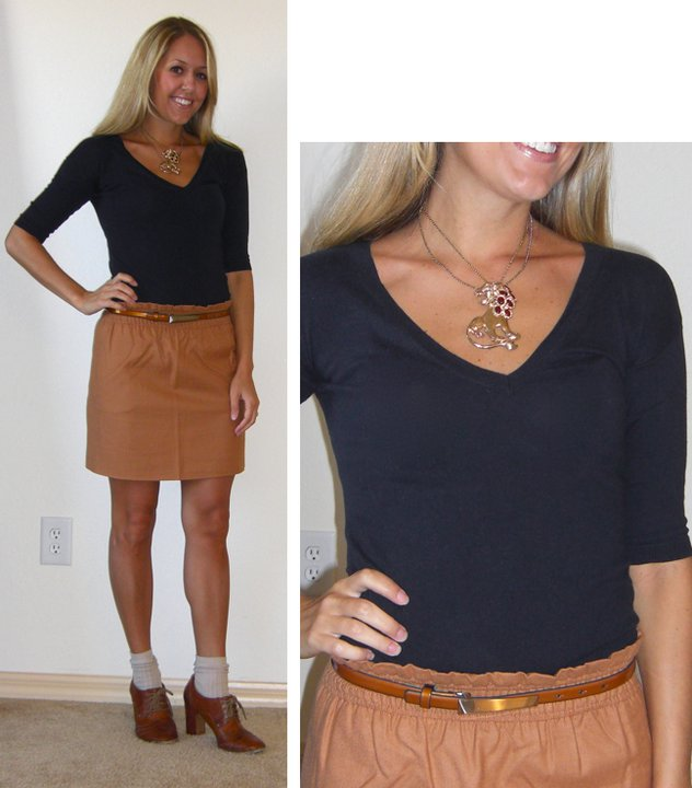 Occasion: Work   Sweater: Gap, $20   Brooch (worn as necklace): $15   Belt: Limited, $15   Skirt: J.Crew, $45   Shoes: Frye (really old)