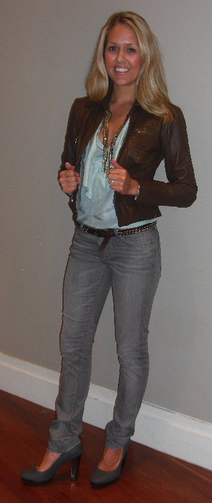 Banana Republic:    Leather jacket, $298 (style #769824)   Aqua top, $69.50 (style #769813) Gray jeans, $89.50 (style #762367) Chain belt, $39.50 (style #770582) Necklace, $55 (style #783052) Union shoes in slate, $120 (style #778844)  Disclaimer: I do not own these clothes.