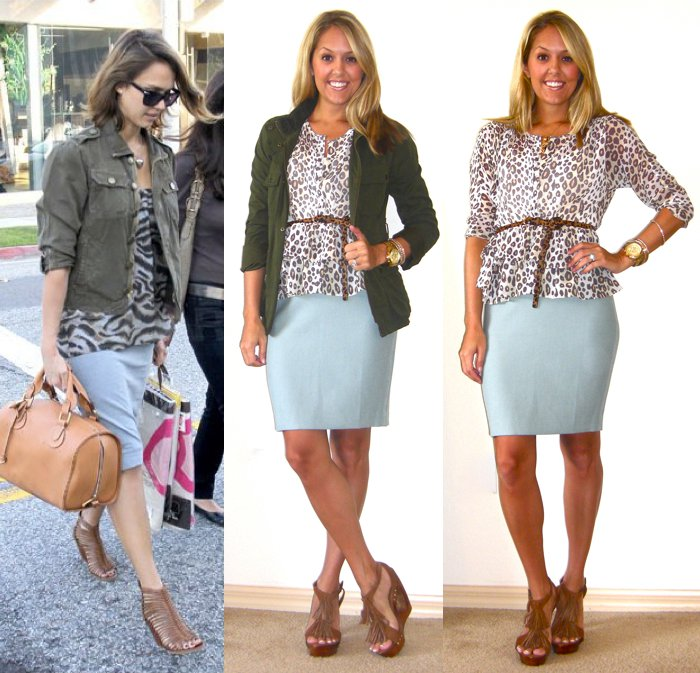 Occasion: Work   Inspiration photo:   FabSugar.com   Jacket (middle): Gap, $25   Shirt: Moda c/o MJR Sales, $17 (  http://www.mjrsales.com/?ref=4  )   Belt: Urban Outfitters, $20   Skirt: LOFT, $55   Shoes: c/o Chinese Laundry (  http://tinyurl.com/3v2gp48  )   Watch: Michael Kors, family gift (  http://amzn.to/p3tIQV  )   Bracelets: Forever 21, $8