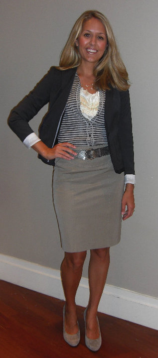 Banana Republic:   Navy ruffle blazer, $198 (style #767581)   Striped cardigan, $59.50 (style #769558) Ruffled cream shirt, $69.50 (style #770517) Khaki skirt, $69.50 (style #762182) Metallic belt, $49.50 (style #770584) Necklace, $34 (style #652621) Shoes - my own Banana Republic shoes  Disclaimer: I do not own these clothes (besides the shoes)