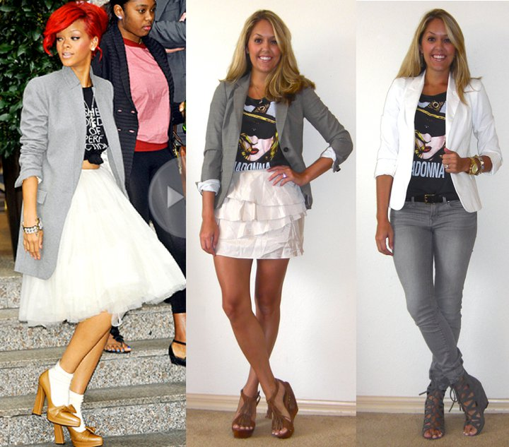 Inspiration photo:   People.com   Blazer: Banana Republic, $75 Shirt: Forever 21, $16 Skirt: Urban Outfitters, $25 Shoes: c/o Chinese Laundry ( http://tinyurl.com/3v2gp48 )