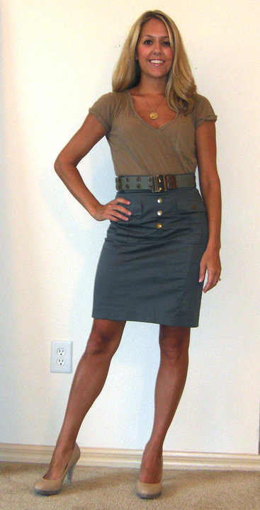 T-shirt: Forever 21, $10   Skirt: H&M, $25   Belt: Bakers, $6 Shoes: Banana Republic, $22 Necklace: Banana Republic, $10