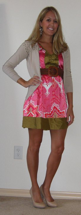 The Unique Closet dress, $64 (  http://www.theuniquecloset.com/catalog/pink-paisley-ruffle-front-dress-p-91.html  ) The Unique Closet cardigan, $44 ( http://www.theuniquecloset.com/catalog/bronze-studded-cardigan-p-117.html ) The Unique Closet belt, $12 ( http://www.theuniquecloset.com/catalog/natural-square-braided-belt-p-57.html )  Disclaimer: clothes that are from The Unique Closet are listed below each picture, and do not belong to me. I chose two items to keep for future use, and any items not listed are my regular 'ole clothes.