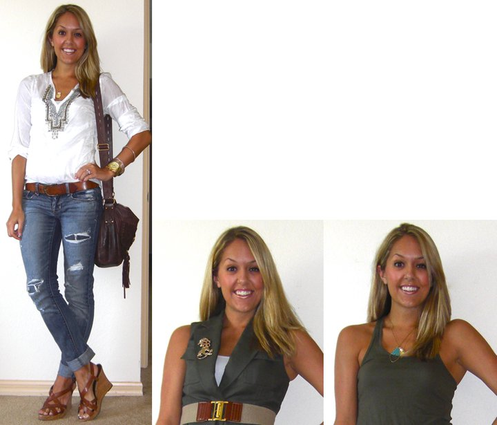 Occasion: Air travel   Shirt: Banana Republic, $45   Jeans: American Eagle, $33   Belt: H&M, $20   Watch: Michael Kors, family gift (  http://amzn.to/p3tIQV  )   Bracelets: Forever 21, $8   Purse: Juicy Couture/Neiman Marcus Last Call, $115   Necklace: c/o Stella & Dot (  http://tinyurl.com/3l6ouxz  )