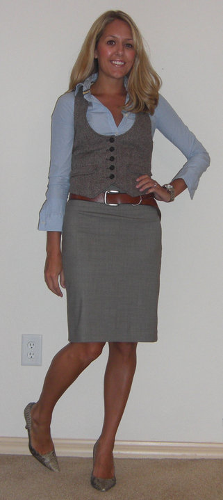 Shirt: Abercrombie, $20   Vest: Gap, $40   Belt: American Eagle/Filene's, $5 Skirt: Banana Republic, $40 Shoes: Boutique 9, $70 Watch: Fossil