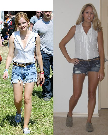 Shirt: Express   Belt: Urban Outfitters, $20   Shorts: Abercrombie, $50   Oxfords: Forever 21, $12   Photo left: Emma Watson, my stylish inspiration