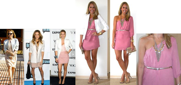 Inspiration photo:   People.com   Dress: c/o Shop Ruche, $39.99 (  http://tinyurl.com/3et45cr   - comes in a bunch of other colors!)   Belt: Limited, $10   Blazer: Victoria's Secret c/o MJR Sales, $35 (  http://tinyurl.com/3j9zw3a  )   Fringe necklace: Banana Republic, $13   Pink necklace: J.Crew, $40   Clutch: Juicy Couture/TJ Maxx, $70   Watch: Michael Kors, family gift (  http://amzn.to/p3tIQV  )   Bracelets: Forever 21, $8   Shoes: BCBG/Ross, $20