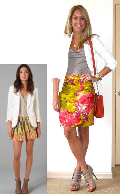 Inspiration photo: Shopbop   Occasion: Work   Blazer: Victoria's Secret c/o MJR Sales, $35 (  http://tinyurl.com/3j9zw3a  )   Shirt: Banana Republic, $17   Skirt: J.Crew, $48   Shoes: Aldo, $50   Necklace: c/o Stella & Dot, $55 (  http://tinyurl.com/3l6ouxz  )   Watch: Michael Kors, family gift (  http://amzn.to/p3tIQV  )   Bracelets: Forever 21, $8   Purse: c/o It's in the Bag, $78 (  http://tinyurl.com/6kepvzs  )