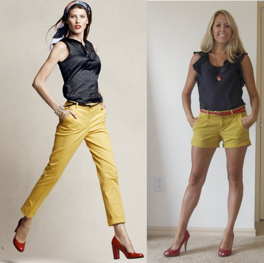 Photo left: My inspiration from   Talbots.com   Navy shirt: Banana Republic, $50   Yellow shorts: Gap, $25   Red shoes: Delicious/Shoe Carnival, $10   Red belt: Forever 21, $4   Necklace: H&M