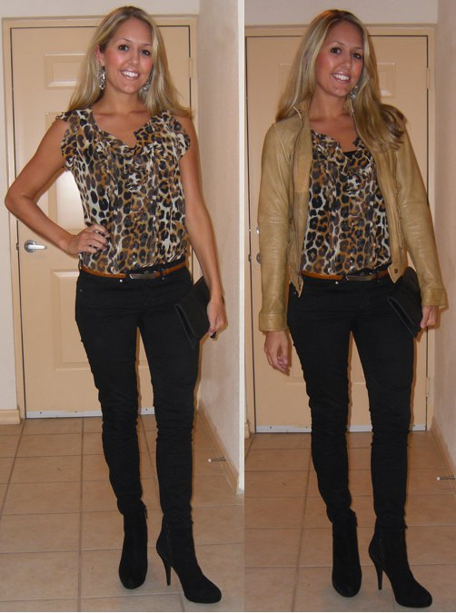 Occasion: Dinner, Planet Hollywood event Shirt: Express, $37 ( http://tinyurl.com/2fyzemd ) Belt: Limited, $15 Jeans: Gap, $35 Earrings: Urban Outfitters, $5 Leather jacket: Banana Republic, $150 Shoes: Cynthia Rowley/TJ Maxx, $85 Clutch: Urban Outfitters, $30