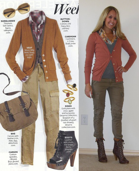 Photo left: my inspiration from InStyle magazine!   Cardigan: Banana Republic, c/o BR Florida Mall   V-neck: American Eagle, $30   Plaid shirt: Forever 21, $20 Cargos: TJ Maxx, $17 Boots: Aldo, $75