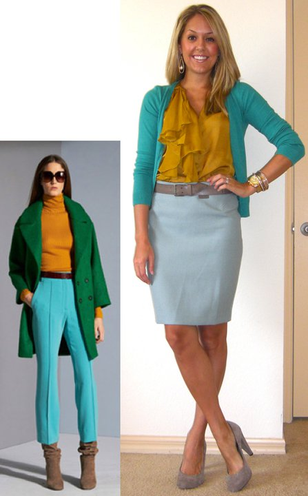 Inspiration photo: Diane von Furs  tenberg Occasion: Work Cardigan: H&M, $18 Shirt: Gap, $32 Skirt: LOFT, $55 Belt: Gap, $3 Shoes: Banana Republic, $50 Watch: Michael Kors, family gift ( http://amzn.to/p3tIQV ) Bracelets: Forever 21, $8 Earrings: c/o Mikel Maia
