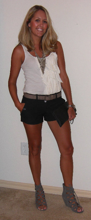 Shirt: J.Crew, $20   Shorts: Forever 21, $20   Belt: Gap, $3 Necklace: Banana Republic, $13 Shoes: Mia/Macy's, $28 Clutch: Urban Outfitters, $30 Watch: Fossil