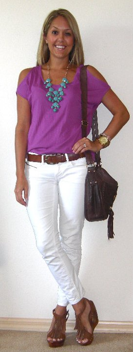 Occasion: Versatile. Errands, dinner, pretty much anywhere! Shirt: Victoria's Secret c/o MJR Sales, $14 ( http://www.mjrsales.com/?ref=4 ) Necklace: H&M, $14 (recent) Jeans: Gap, $35 Belt: H&M, $20 Purse: Juicy Couture/Neiman Marcus, $115 Watch: Michael Kors, family gift ( http://amzn.to/p3tIQV ) Bracelets: Forever 21, $8 Shoes: c/o Chinese Laundry ( http://tinyurl.com/3cmrldc )