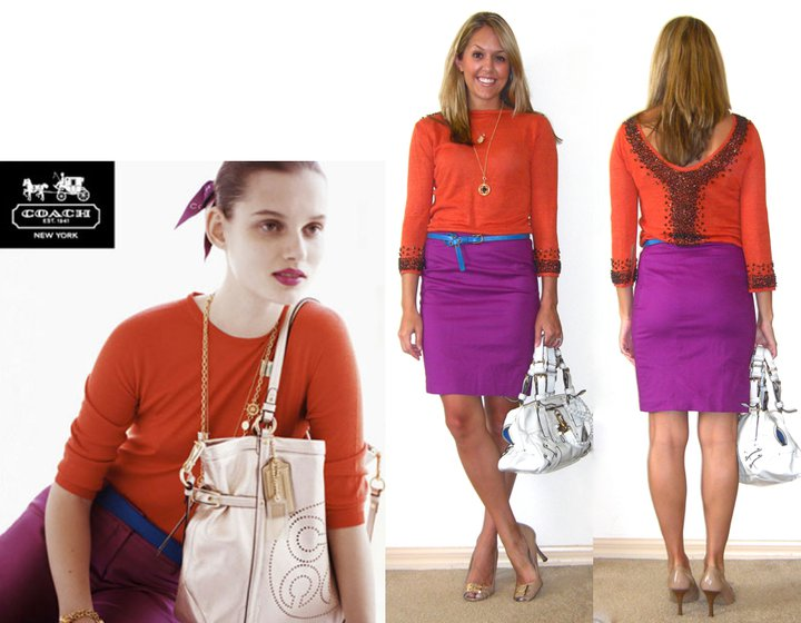 Inspiration photo: Coach   Occasion: Work   Sweater: Moda c/o MJR Sales, $24   Skirt: Limited, $35   Belt: American Eagle, $15   Shoes: BCBG/Ross, $21   Purse: Juicy Couture/Macy's   Short necklace: c/o Stella & Dot   Charm: c/o Stella & Dot