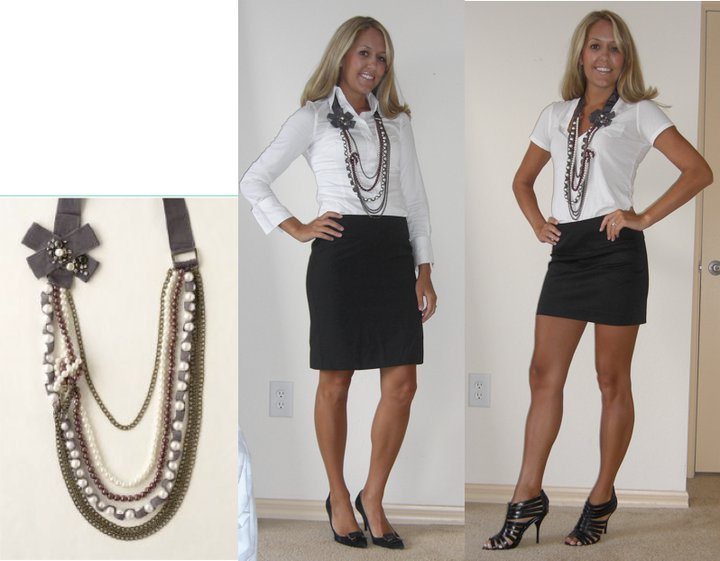 Disclaimer: These are my regular 'ole clothes, but I do not own the necklace.  Necklace: Stella & Dot ( http://www.stelladot.com/sites/deneeb ) Photo left Shirt: Banana Republic, $15 Pencil skirt: Express Pumps: Calvin Klein/Filene's Basement, $60 Photo left T-shirt: Gap, $10 Mini-skirt: Express, $5 Shoes: Michael Antonio/TJ Maxx, $16