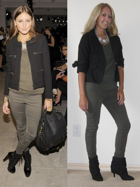 Two questions: - Should I keep these boots from Forever 21? - Are my shirt/pants too monochromatic?  Photo left: The oh-so-stylish Olivia Palermo from FabSugar.com  Jacket: Forever 21, $30 Shirt: Forever 21, $12 Necklace: Stella & Dot, c/o Stylist Denee Brochardt Pants: Sanctuary Surplus/Nordstrom Rack, $40 Boots: Forever 21, $30