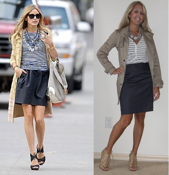 Occasion: Work   Trench: New York & Company   Shirt: H&M, $15   Necklace: c/o Stella & Dot stylist Denee Borchardt Skirt: Limited, $25 Shoes: Chinese Laundry/Piperlime, $34 Photo left: Olivia Palermo, my stylish inspiration (how adorable is her outfit?!)