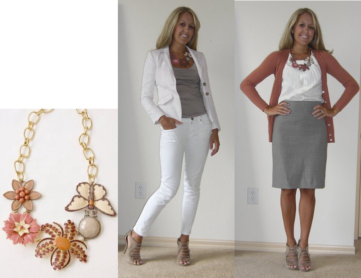 Disclaimer: These are my regular 'ole clothes, but I do not own the necklace.    Necklace: Stella & Dot ( http://www.stelladot.com/sites/deneeb ) Photo left Pink Blazer: Banana Republic, $40 Shirt: Banana Republic, $14 Jeans: Gap, $30 Shoes: Steve Madden/DSW, $27 Photo right Sweater: c/o Banana Republic FL Mall Blouse: Banana Republic, $35 Skirt: Banana Republic, $40 Shoes: Steve Madden/DSW, $27