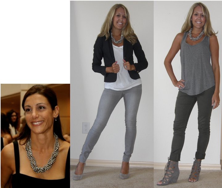 Necklace: Stella &   Dot ( http://www.stelladot.com/sites/deneeb ) Photo left Navy blazer: Gap, $70 T-shirt: Gap, $10 Jeans: Gap, $33 Shoes: Banana Republic, $50 Photo right Tank: Forever 21, $8 Cargo: Sanctuary Surplus/Nordstrom Rack, $40 Shoes: Macys/Mia, $28