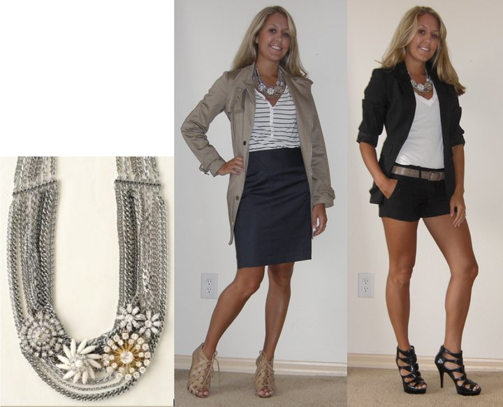 Necklace: Stella & Dot ( http://www.stelladot.com/sites/deneeb ) Photo left - see previous photo for details Photo right Blazer: Express T-shirt: Gap, $10 Shorts: Forever 21, $20 Belt: Gap, $3 Shoes: Carlos Santana/DSW, $33