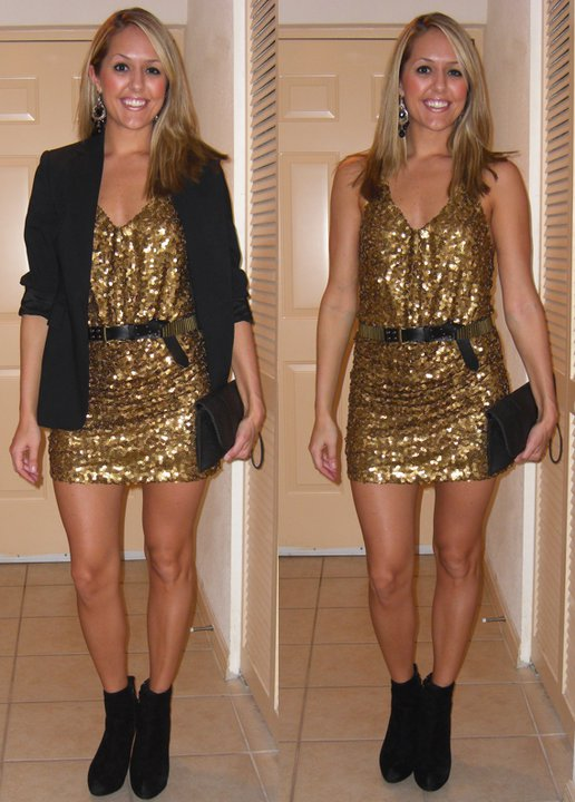 Occasion: New Years   Eve party Dress: Wet Seal, $30 Blazer: Express Belt: Forever 21, $8 Boots: Cynthia Rowley/TJ Maxx, $85 Purse: Urban Outfitters, $30 Earrings: Boston boutique