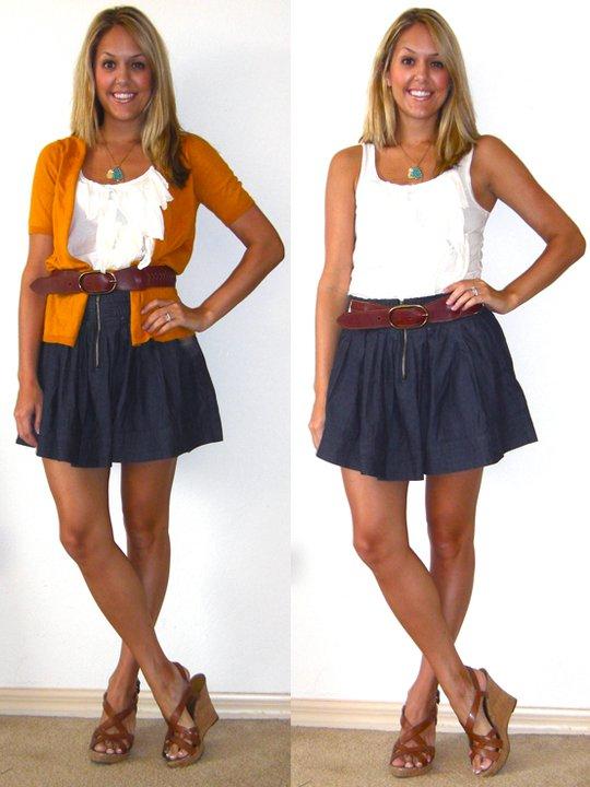 Cardigan: Gap (  http://tinyurl.com/3kdzcgf  ) (returned it)   Skirt: Ross, $8 (returned it)   Shirt: J.Crew, $20   Belt: Gap, $10 (recent)   Shoes: Guess via DSW, $20   Necklaces: c/o Stella & Dot (  http://tinyurl.com/3wnpnt7  )