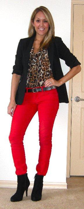 Blazer: Express   Shirt: Express, $35   Pants: Gap, $17   Belt: Forever 21, $8   Boots: Cynthia Rowley/TJ Maxx, $85