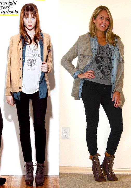 Left photo:  WhoWhatWear.com   Sweater: Gap, $50   Denim shirt: Gap, $14   T-shirt: Forever 21, $8   Jeans: Gap, $35   Boots: Aldo, $75